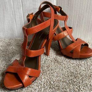 Linea Paolo orange leather heels size 7.5